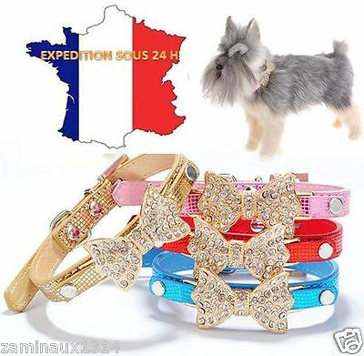 Collier pour Chien avec Noeud Strass OR