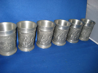"Lot of Six 3.5"" Antique  German Solid Pewter Embossed & Engraved Cups 2 Scenes"