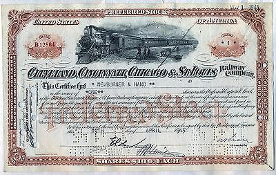 Big Four Cleveland Cincinnati Chicago & St. Louis Railroad Stock Certificate
