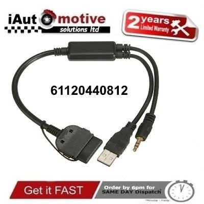 Bmw & Mini iPod iPhone Interface Audio USB Y Cable AUX Adapter Lead Plug N Play