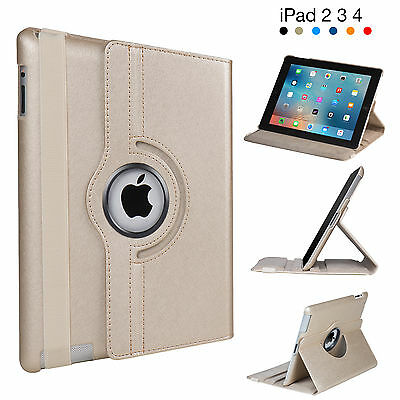 Leather Case Cover for Apple iPad 2 3 4, 360 Degree Rotating Flip