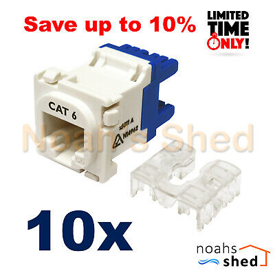 10 x Clipsal Compatible Style CAT6 RJ45 8P8C Network LAN Data Jack Mech Insert