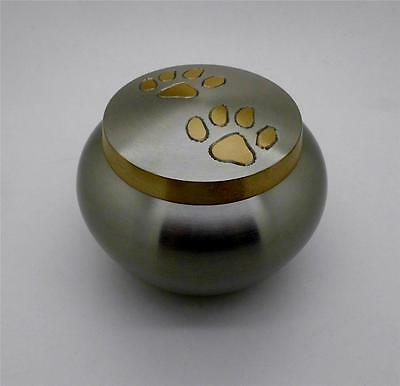 Solid Brass Round Cat & Dog Pet Paw Print Cremation Funeral Urn up to 17kg NIB