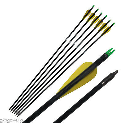 6 PCs Fibreglass Arrows Archery Hunting Steel Field arrowhead Tips  Pro Seller