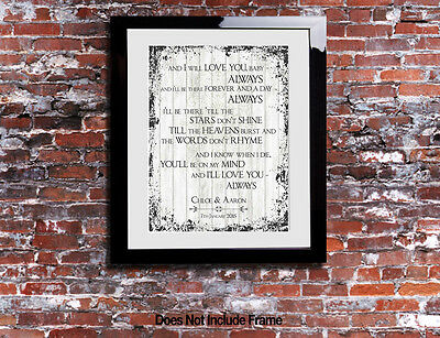 Bon Jovi ALWAYS - Lyrics Print Word Anniversary Song Personalised Canvas Gift