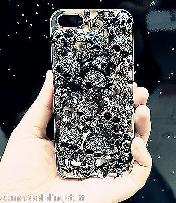 NEW 3D BLACK GOTH DIAMANTE SKULL SPARKLE CASE COVER FOR IPHONE 8 7 4S 5S 6 6s X