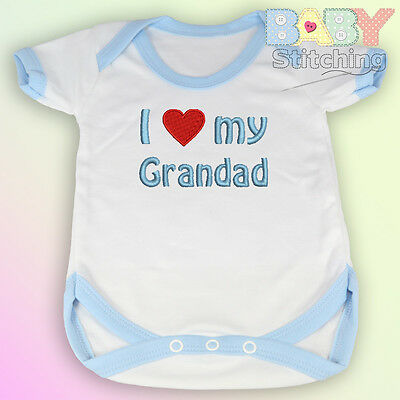 """I Love {Heart} My Grandad"" Embroidered Baby Vest Blue Trim - Babygrow Baby Gift"