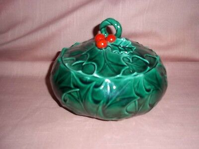 Vintage LEFTON Christmas Holly & Berry Pattern Covered Lidded Candy Dish