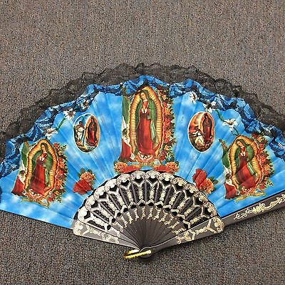 our lady of Guadalupe inspired hand fan for church favor/baptism/USA seller
