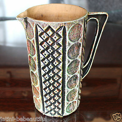 """Large Hand Made Pottery Jug 7"""" Tall, Textured Decoration"""