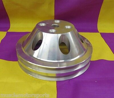 Small block Chevy long water pump 2 groove pulley aluminum satin finish R9483