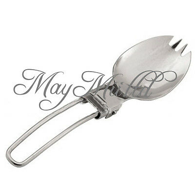 Outdoor Hiking Camping Travellers Foldable Stainless Steel Spork Fork Spoon CAEM