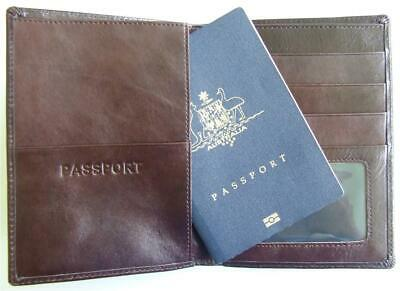 Passport holder wallet men brown leather travel document card ticket organiser