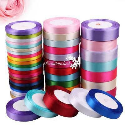 25Yds Satin Ribbon Multiple Colours Wedding Festival Craft Supply Gift Decor