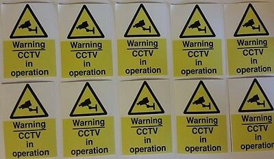 Set of 20 CCTV Security Stickers -7x5cm - cctv warning sign sticker pack signage