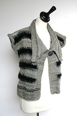 Vintage knitted wool-mix Gilet - 1980s - Grey - UK 8/10