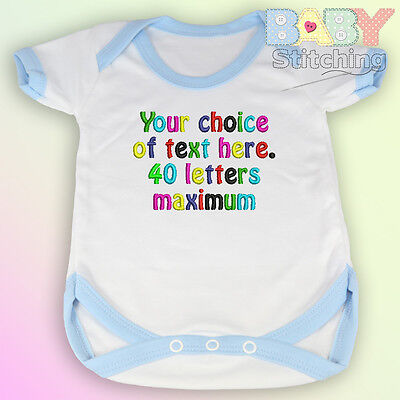 Your Choice of Words - Personalised Embroidered Baby Vest Blue Trim -  Baby Gift