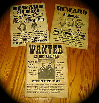 The Younger Gang Jesse James & Frank James Old West Wanted Posters Lot of 3
