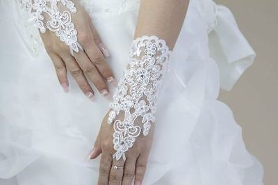 white bridal wedding lace with diamonte embroided fingerless  gloves