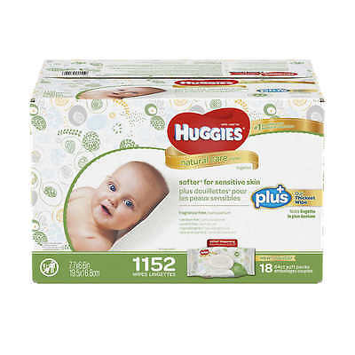 Huggies Natural Care Plus Baby Wipes 1152 count, Fragrance & Alcohol NEW SEALED