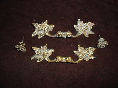 Ornate Brass Drawer Pulls - Set of 4