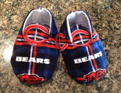 Baby Boy Or Girl Unisex Chicago Bears Booties, Blue Orange Plaid