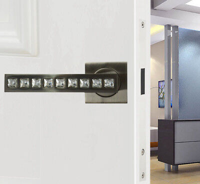 Quality Door Handles Crystal Diamante Brushed Steel Finish on Square Rose