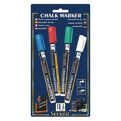 Securit Wipe Clean Assorted Marker Pens Wall Menu Boards Red,Green,Blue,White