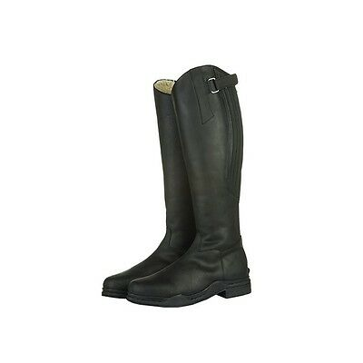 HKM Artic Waxed Leather Tall Long Horse Riding Boots Fleece Lined