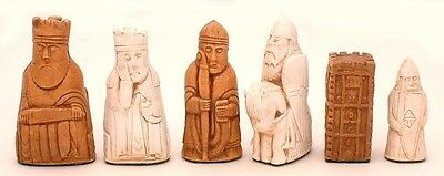 "ISLE OF LEWIS CHESS MEN, PLAYERS' SET, WITH CASTLE ROOKS K=3.5"" (MAPLE) 571"