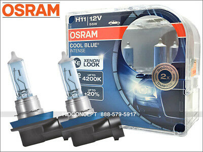 NEW! H11 OSRAM CBI Cool Blue Intense Headlight Bulbs 20%+ 4200K Color Xenon Look
