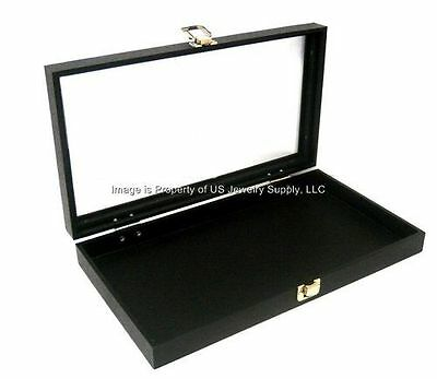 2 Black Glass Lid Top Utility Jewelry Hobby Display Storage Sales Box Cases