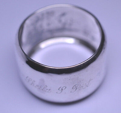 Antique 1919 William Henry Sparrow Sterling Silver Round Napkin Ring Birmingham