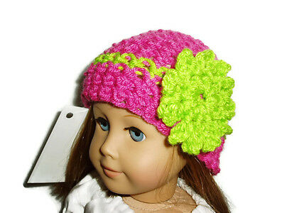 "Hot Pink Crochet Beanie Hat Green Flower 18"" Doll Clothes Fits American Girl"