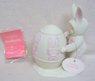 """Department 56 Bisque Snowbunnies """"I'll Color The Easter Egg"""" Springtime Stories"""