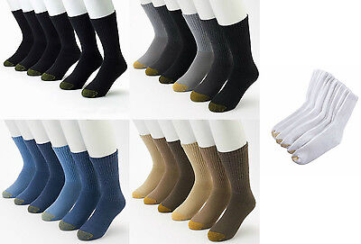 Gold Toe Men's 3 Pair Athletic Cushioned Cotton Crew Socks Shoe Size 6-12 1/2