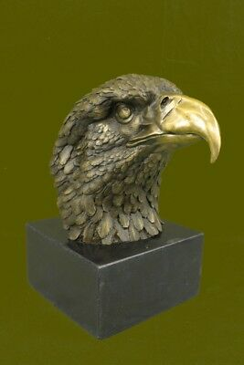 "13"" Chinese Fengshui Bronze Hawk Eagle Head Bust king of birds Animal Statue Art"