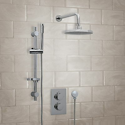 ENKI Concealed Thermostatic Shower Set Slider Fixed Head 300mm ABS Round