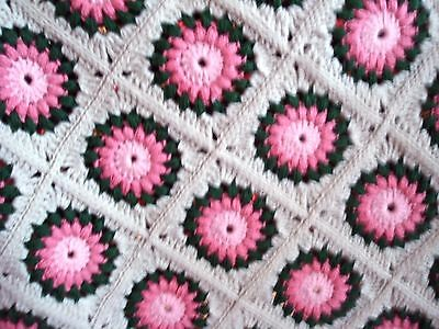 "New Handmade Crochet 36"" X 46"" Pink Medallion Afghan Throw"