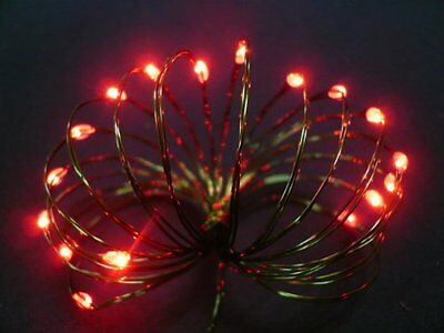 Starlite Creations Battery Operated LED Ultra Slim Wire  9 ft  36 LEDs  Red Bund