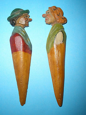 """Vintage ANRI Hand Carved Wooden Letter Opener 4"""" Woman Wood Made in Italy #1"""
