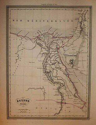1846 Vuillemin Map ANCIENT EGYPT IN THE ERA OF CLEOPATRA Finely Engraved, Scarce