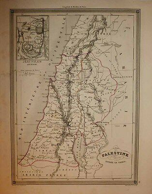 1843 Vuillemin Map PALESTINE Holy Land ISRAEL by 12 Tribes,  Jerusalem Inset