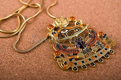 XL Egyptian Gold Plated Enamelled Winged Scarab And Eye Of Horus Necklace