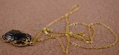Egyptian gold plated enameled scarab luck necklace