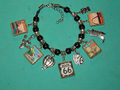 """"""" Route 66 Road Trip"""" Charm Bracelet - Hand Made"""
