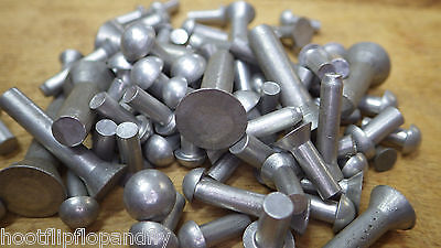 50 x  pack of ASSORTED ROUND COUNTERSUNK PAN FLAT HEAD SOLID ALUMINIUM RIVETS