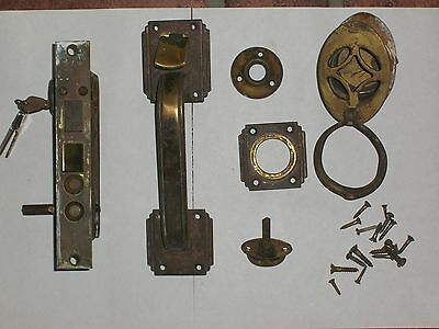 Antique Thumb Lever Entry Lock W/Keys