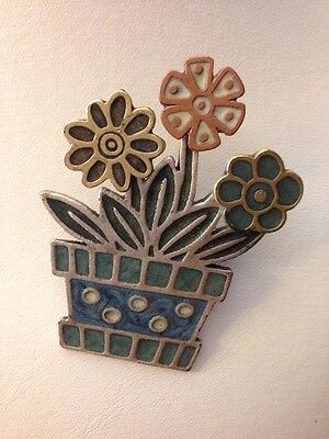Beautiful Flowers with Pot Brooch Silver Tone Colorful Enamel Paint Very Cute!
