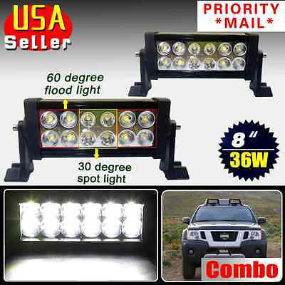 2PCS 36W 8inch Spot Flood Combo Work LED Light Bars Driving Offroad SUV Car Boat